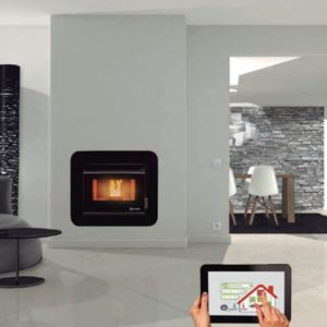 ecoforest cordoba glass ducted air insert pellet fireplace